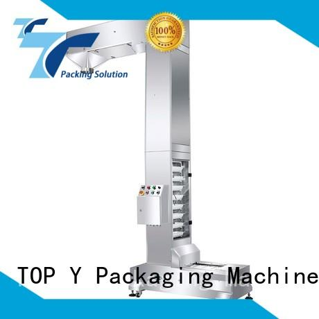 Custom zipper ymdps auxiliary vertical form fill seal packaging machines TOP Y Packaging Machinery Manufacturer bucket