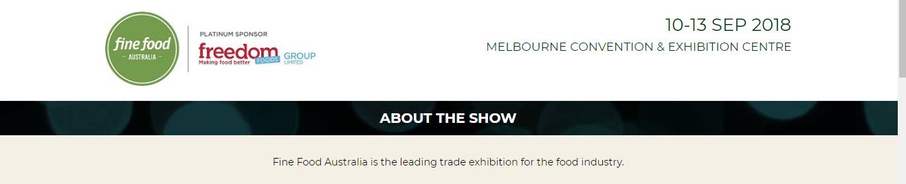 Fine foods Australia in Melbourne 10-13th September 2018