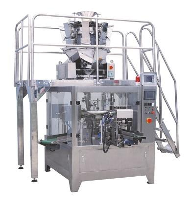 Doypack packaging machine with multihead weigher running for snacks candy and chips
